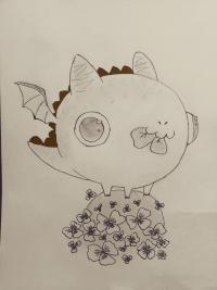 Как нарисовать дракончика с клевером карандашом поэтапно