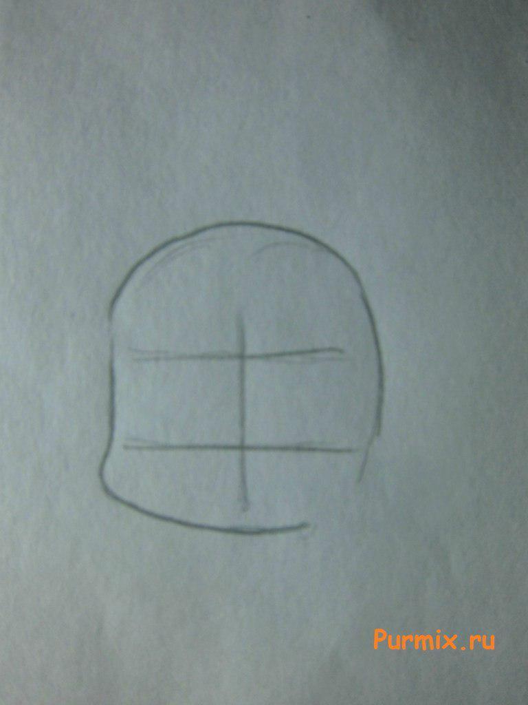 Как нарисовать Харуну Аннака в стиле чиби из Мелочи жизни - шаг 1