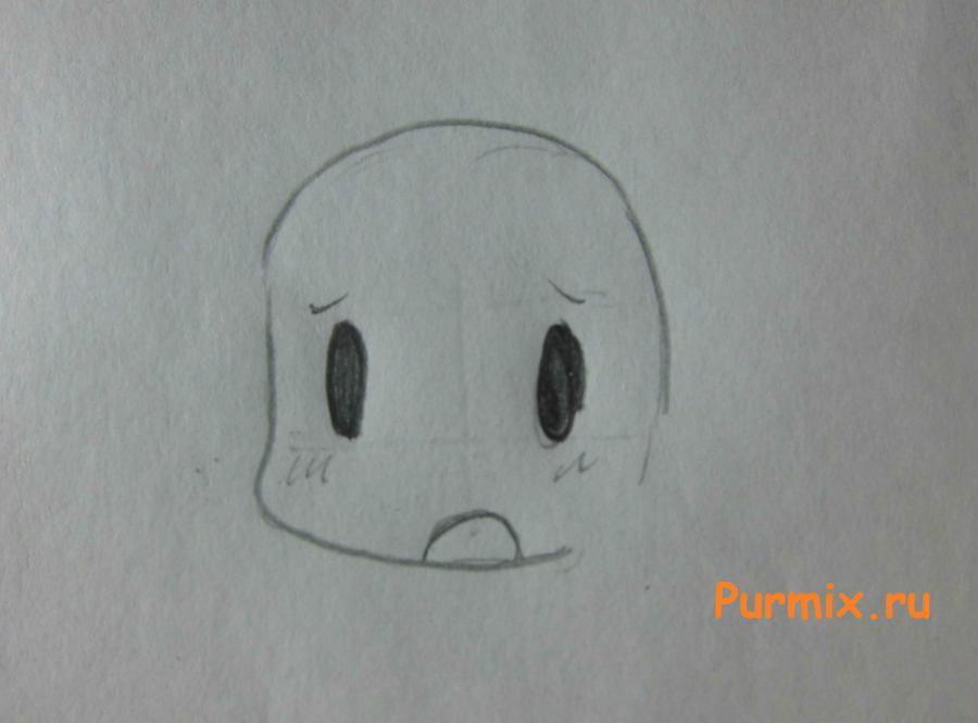 Как нарисовать Харуну Аннака в стиле чиби из Мелочи жизни - шаг 2