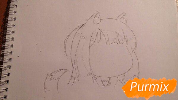 Рисуем Холо из аниме Волчица и пряности в стиле чиби - шаг 1