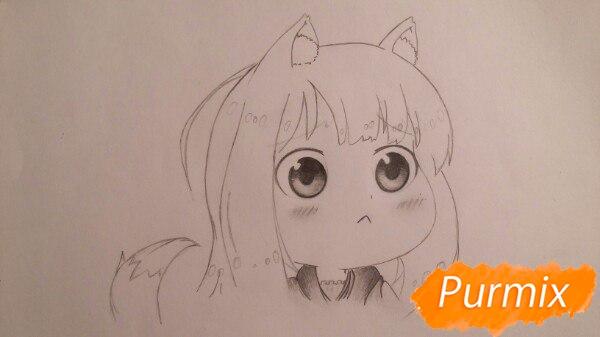 Рисуем Холо из аниме Волчица и пряности в стиле чиби - шаг 3