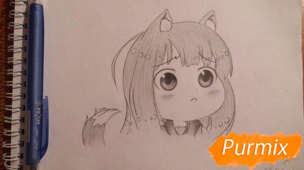 Как нарисовать Холо из аниме Волчица и пряности в стиле чиби поэтапно