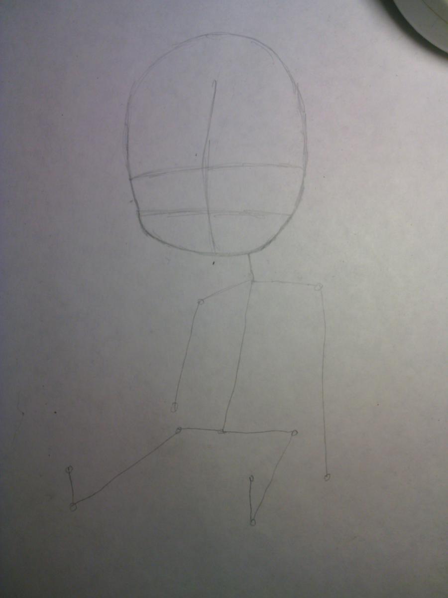 Рисуем и раскрасить Зерефа в стили Чиби - шаг 2