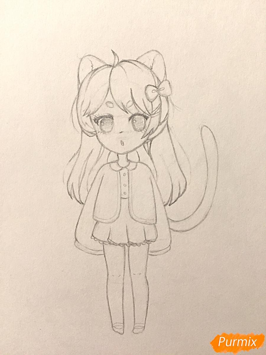 Рисуем и раскрасить девочку-кошку в стиле чиби - шаг 10