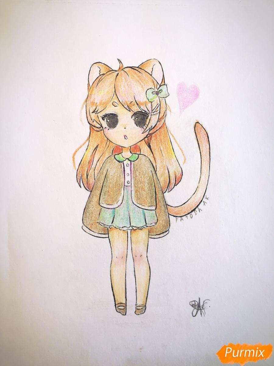 Как нарисовать и раскрасить девочку-кошку в стиле чиби карандашом поэтапно