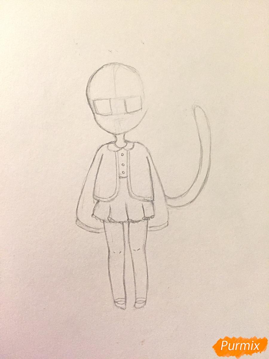 Рисуем и раскрасить девочку-кошку в стиле чиби - шаг 7