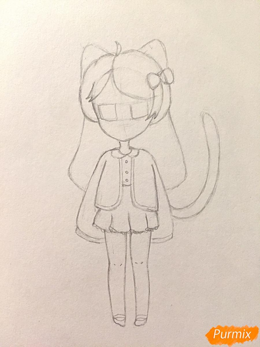 Рисуем и раскрасить девочку-кошку в стиле чиби - шаг 8