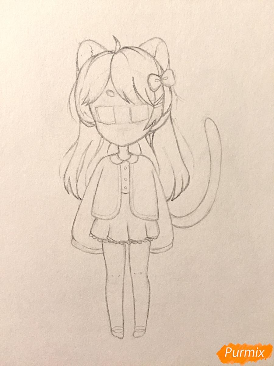 Рисуем и раскрасить девочку-кошку в стиле чиби - шаг 9
