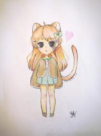 и раскрасить девочку-кошку в стиле чиби карандашом
