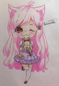 Рисунок и раскрасить девочку с котёнком в стиле чиби