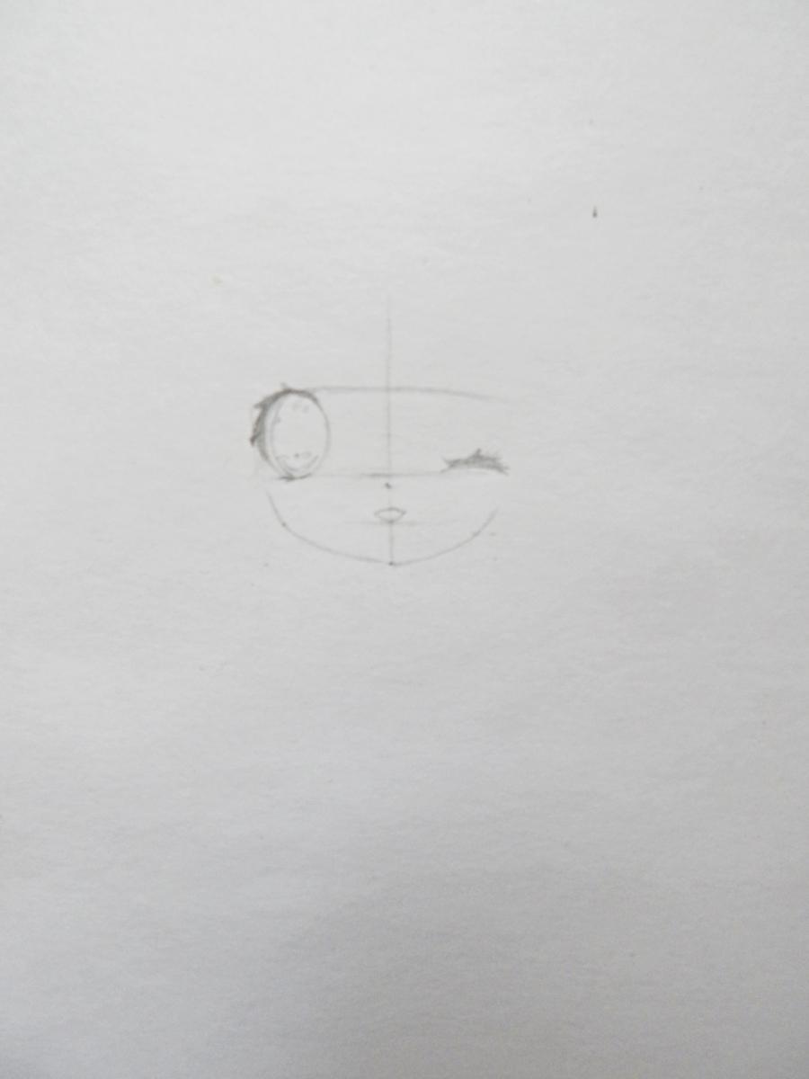 Рисуем и раскрасить девочку в стиле чиби карандашами - шаг 2