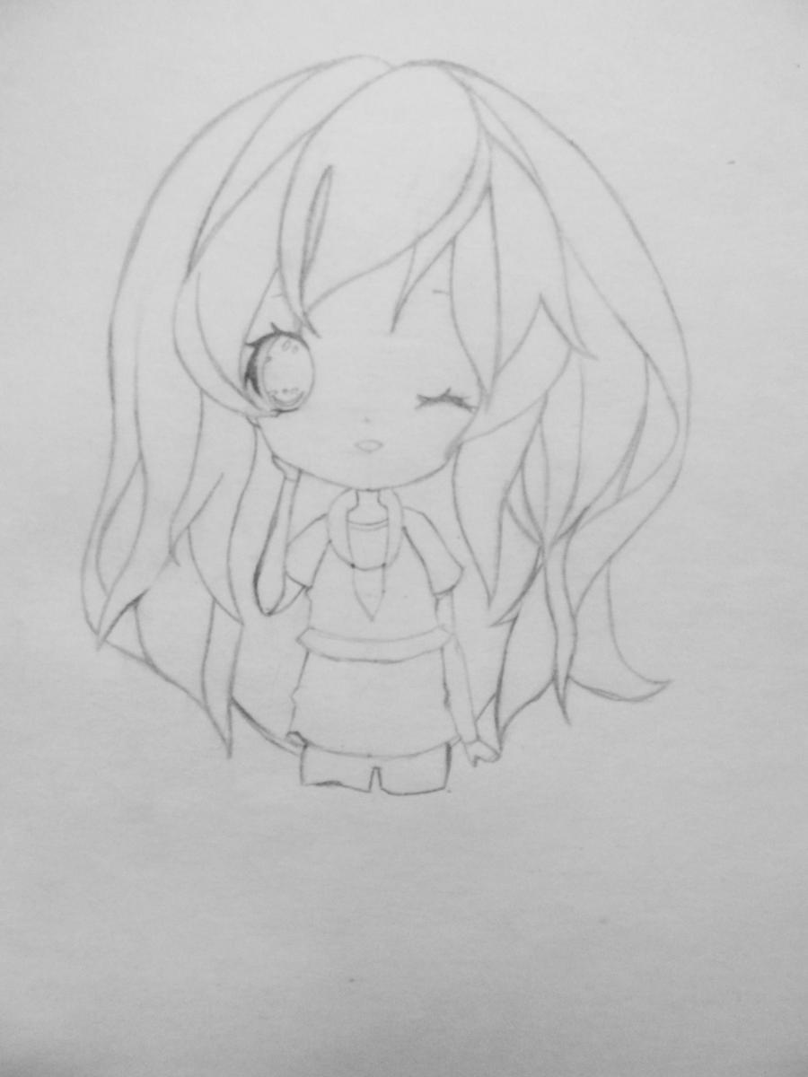Рисуем и раскрасить девочку в стиле чиби карандашами - шаг 3