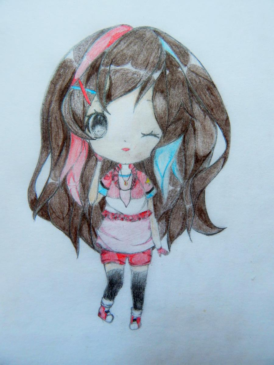 Рисуем и раскрасить девочку в стиле чиби карандашами - шаг 6