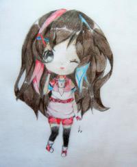 Рисунок и раскрасить девочку в стиле чиби