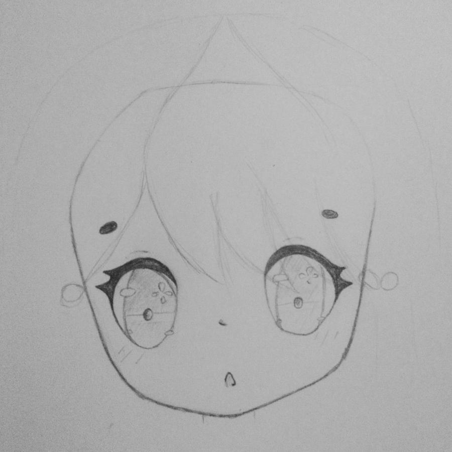 Как нарисовать и раскрасить девочку в стиле чиби карандашами поэтапно - шаг 2