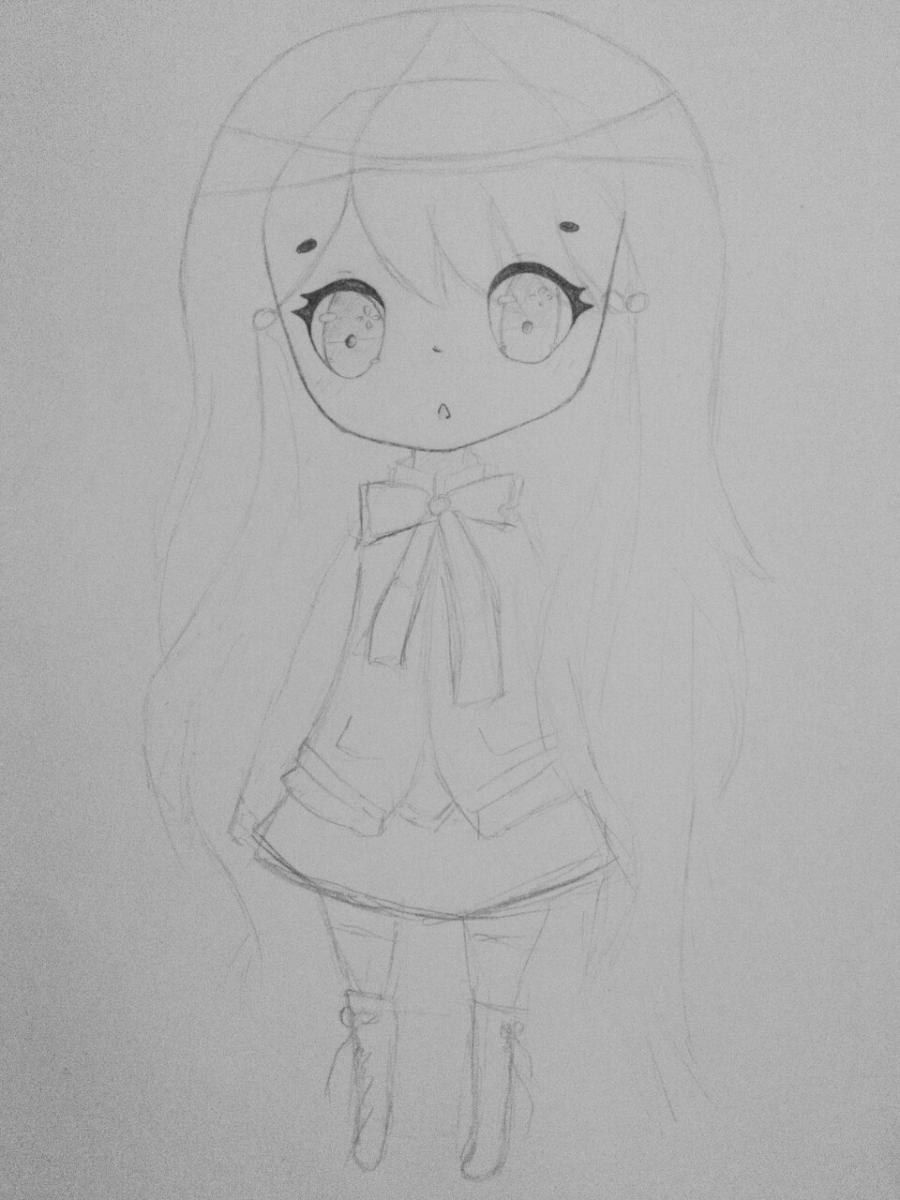 Как нарисовать и раскрасить девочку в стиле чиби карандашами поэтапно - шаг 3
