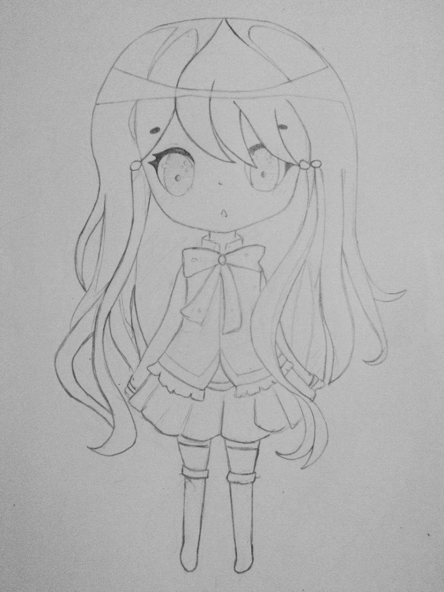 Как нарисовать и раскрасить девочку в стиле чиби карандашами поэтапно - шаг 4