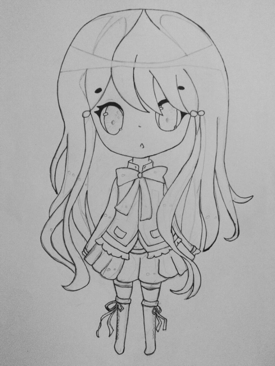 Как нарисовать и раскрасить девочку в стиле чиби карандашами поэтапно - шаг 5
