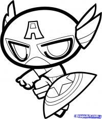 Капитана Америку в стиле чиби карандашом