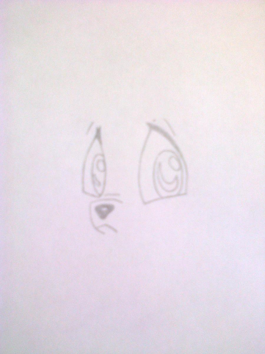 Рисуем лисёнка в стиле чиби цветными карандашами - шаг 2