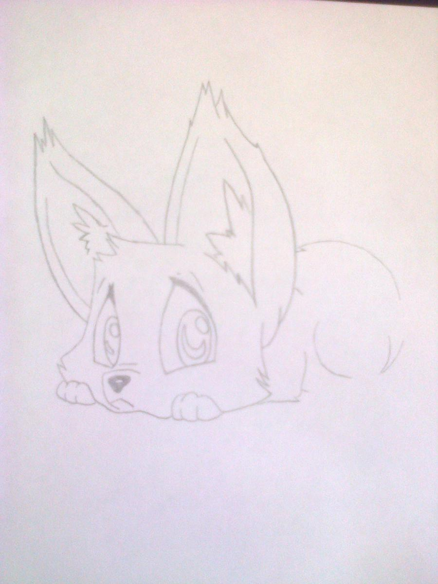 Рисуем лисёнка в стиле чиби цветными карандашами - шаг 5