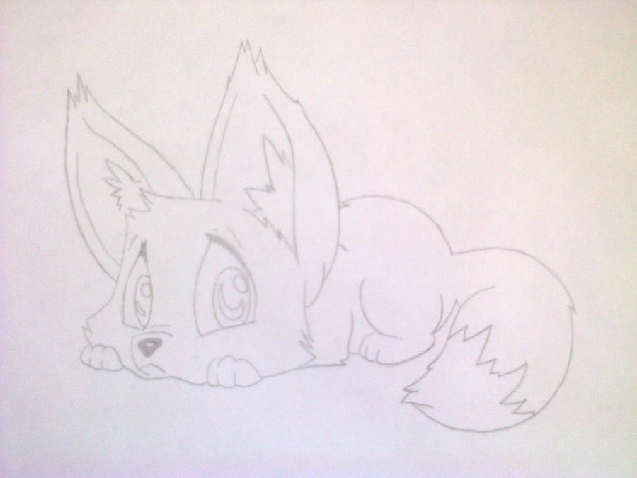 Рисуем лисёнка в стиле чиби цветными карандашами - шаг 6