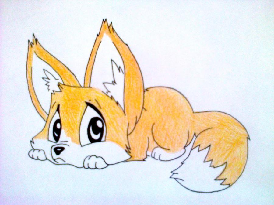 Рисуем лисёнка в стиле чиби цветными карандашами - шаг 8