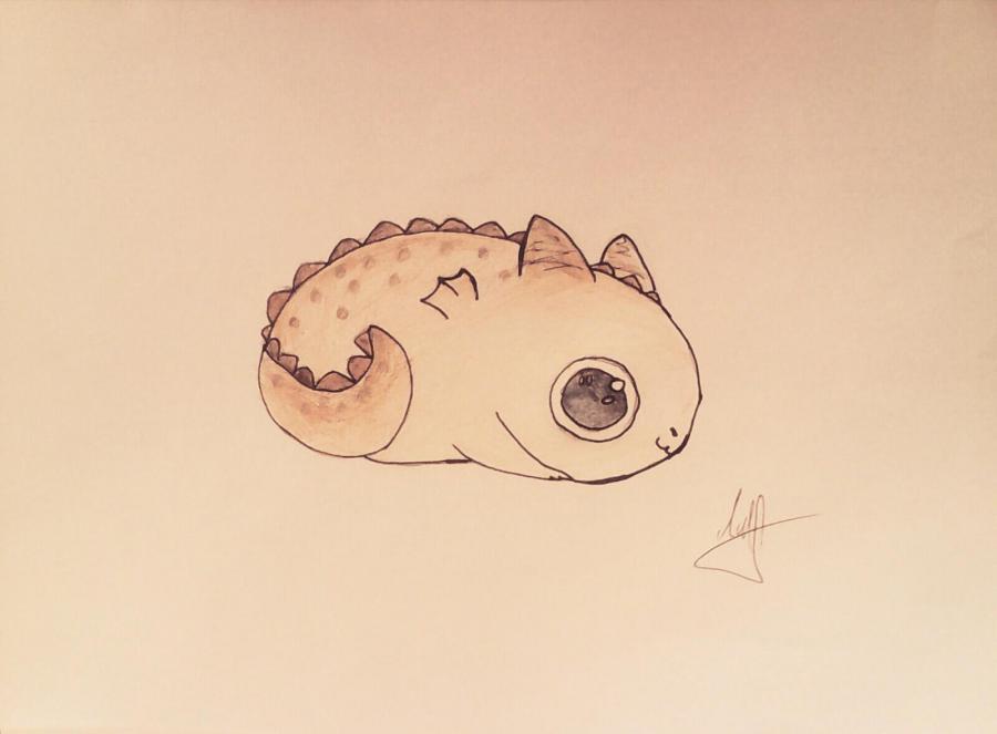 Как нарисовать маленького чиби  дракончика карандашом поэтапно