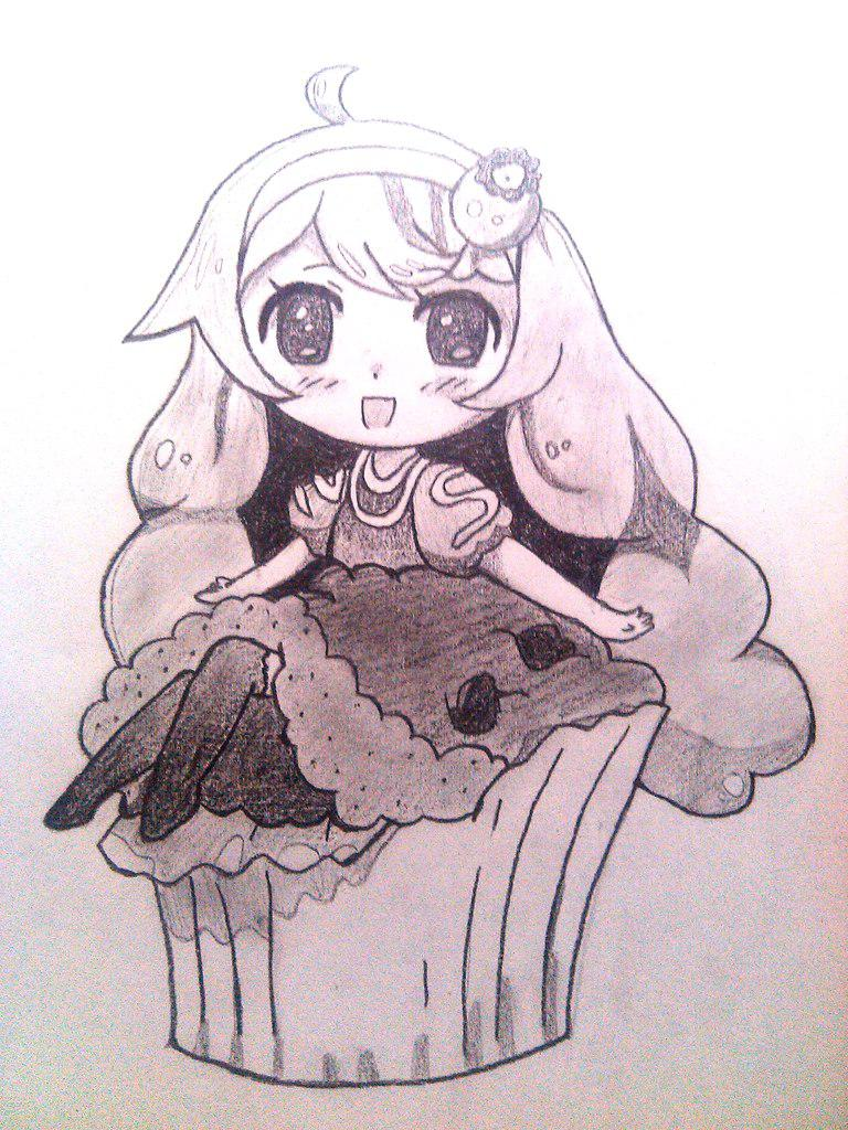 Рисуем маленькую девочку в стиле чиби сидящую на кексике