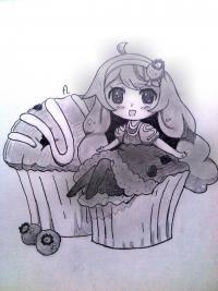 маленькую девочку в стиле чиби сидящую на кексике
