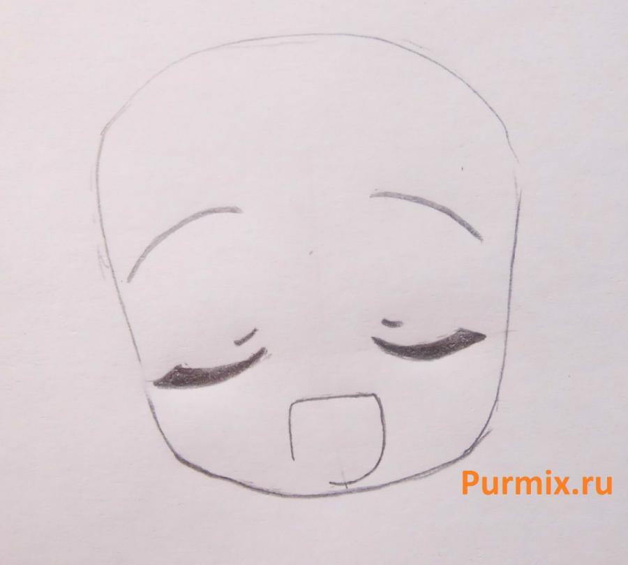 Рисуем Мику Хатсуне в стиле чиби простым - шаг 2