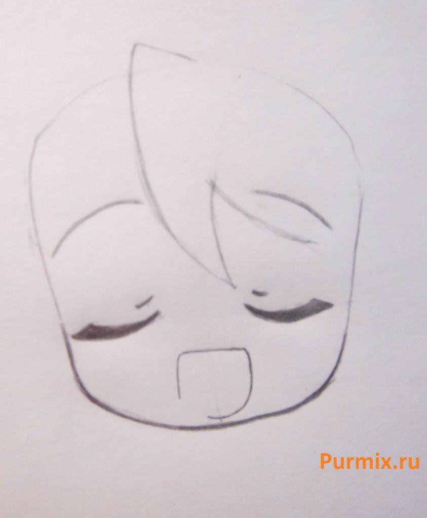Рисуем Мику Хатсуне в стиле чиби простым - шаг 4