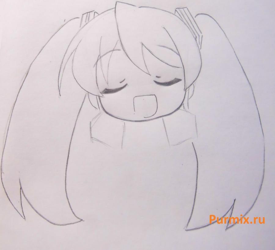 Рисуем Мику Хатсуне в стиле чиби простым - шаг 8