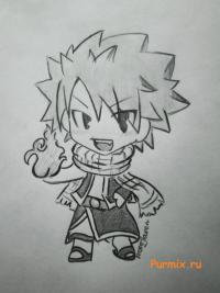 Как нарисовать Нацу Драгнила в стиле чиби из аниме Fairy Tail