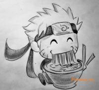 Рисунок Наруто в стиле чиби простым
