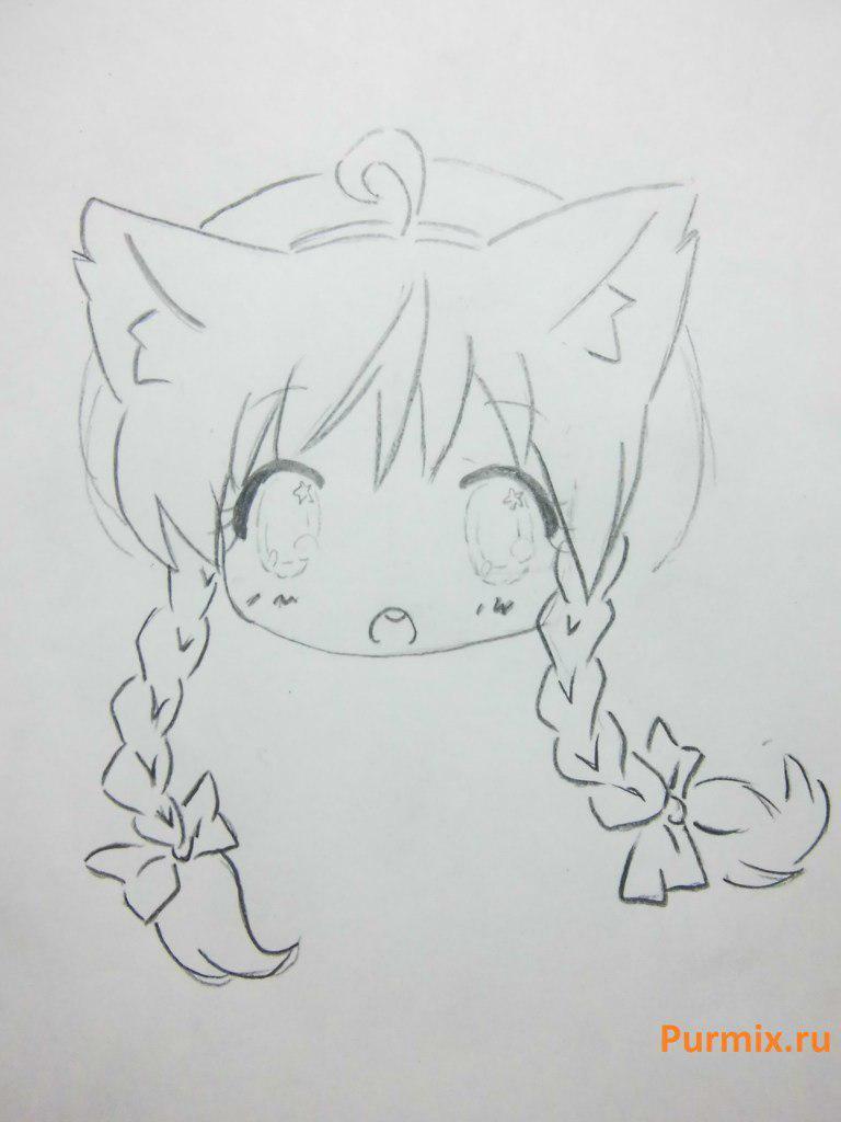 Рисуем неко в стиле чиби простым - шаг 10