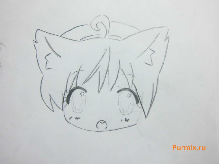 Рисуем неко в стиле чиби простым - шаг 7