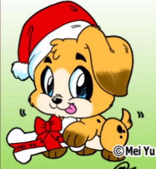 Рисуем рождественского щенка в стиле чиби простым