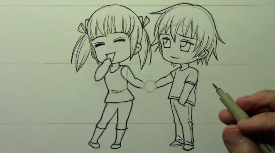 Арты аниме парень с девушкой