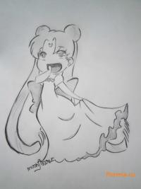 Рисунок Серенити в стиле чиби из аниме Сейлор Мун
