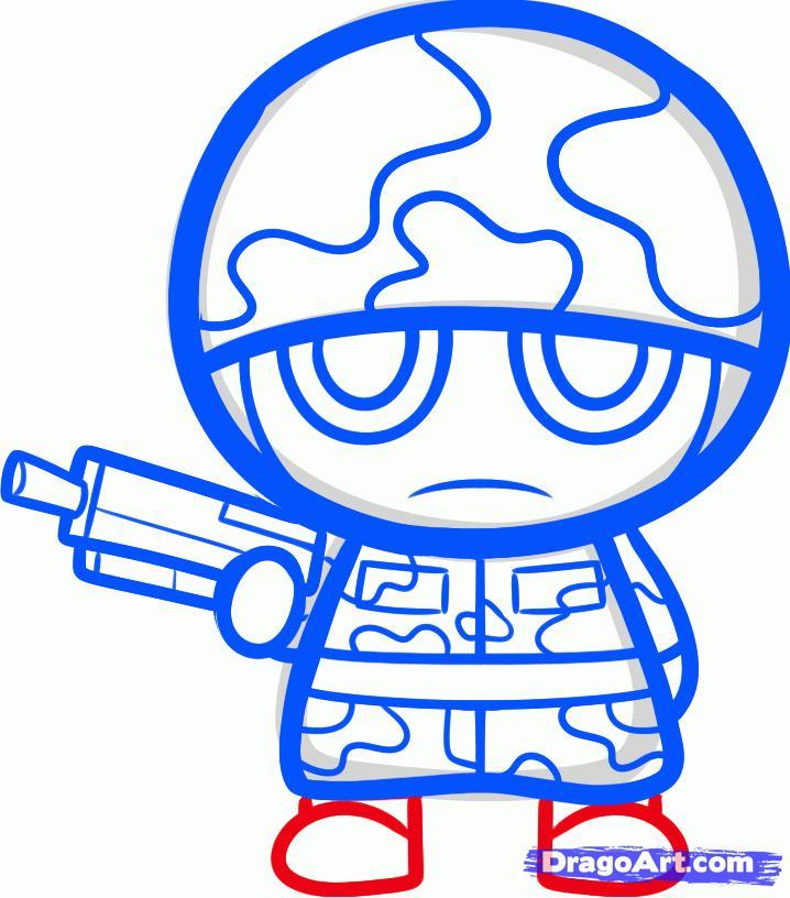 Как нарисовать солдата в стиле чиби карандашом поэтапно