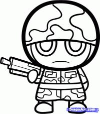 Фото солдата в стиле чиби карандашом
