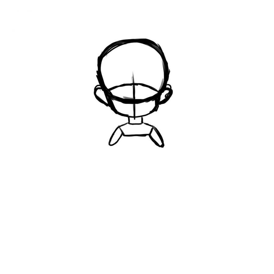 Как нарисовать тело школьницы в стиле чиби - шаг 4
