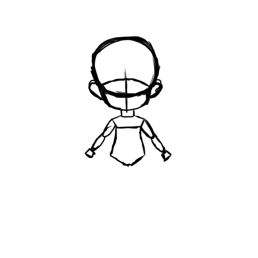 Как нарисовать тело школьницы в стиле чиби - шаг 5