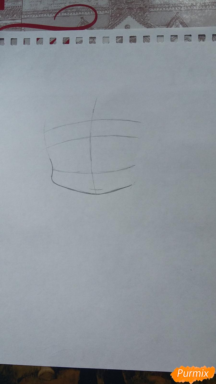 Рисуем Томоэ в стиле чиби карандашами - шаг 1