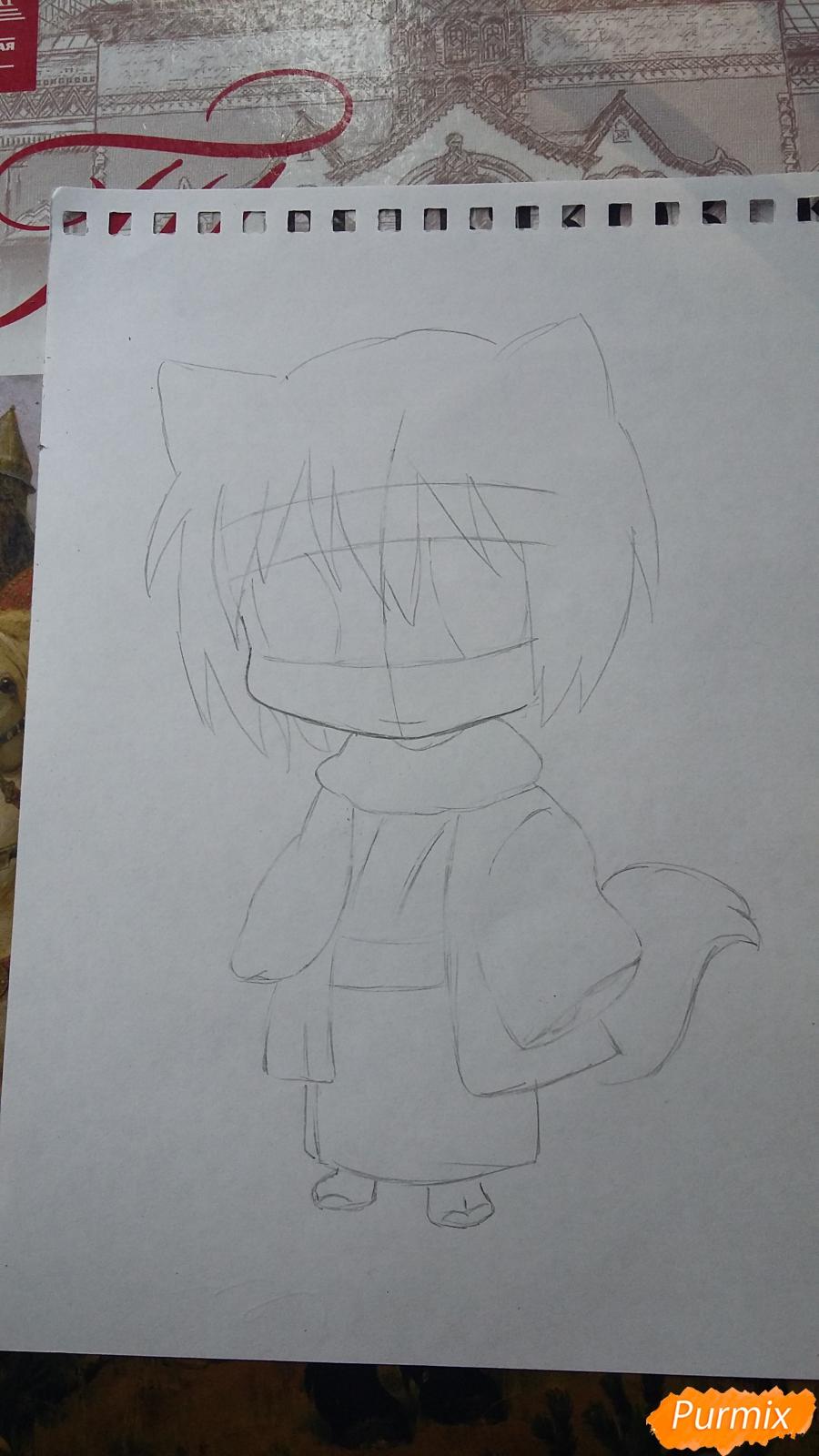 Рисуем Томоэ в стиле чиби карандашами - шаг 2