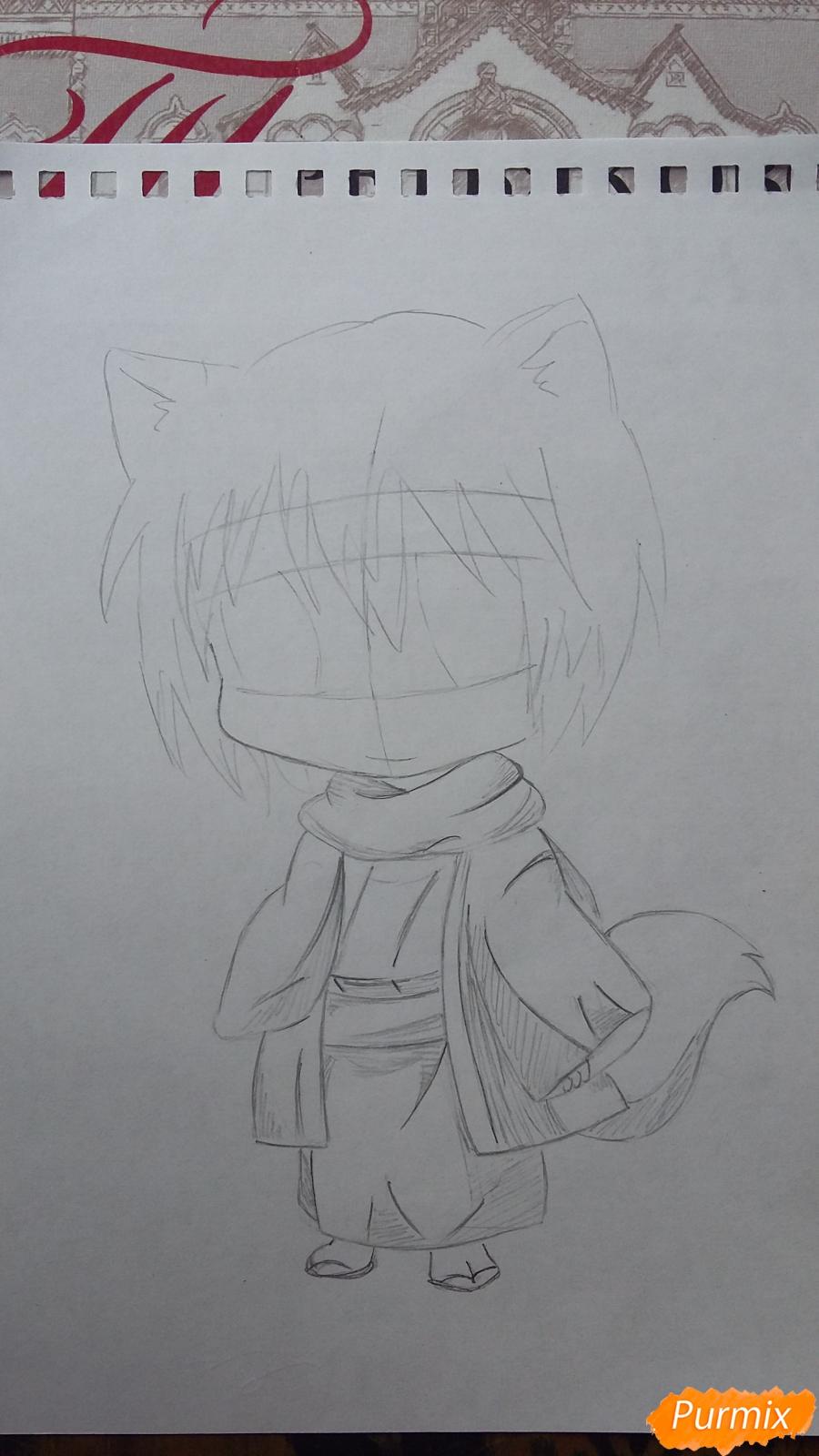 Как нарисовать Томоэ в стиле чиби из аниме Очень приятно, Бог  - шаг 3