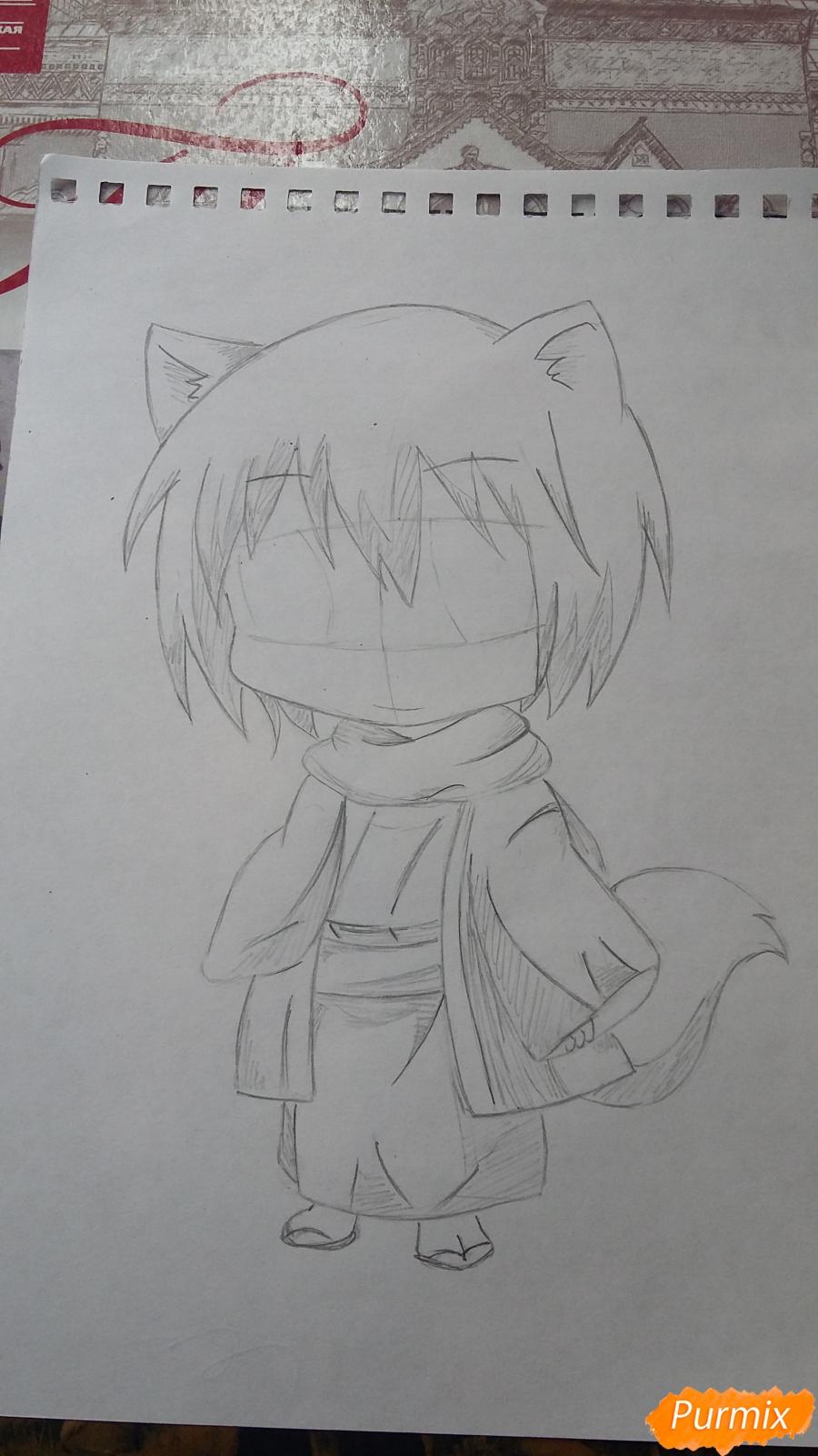 Рисуем Томоэ в стиле чиби карандашами - шаг 4