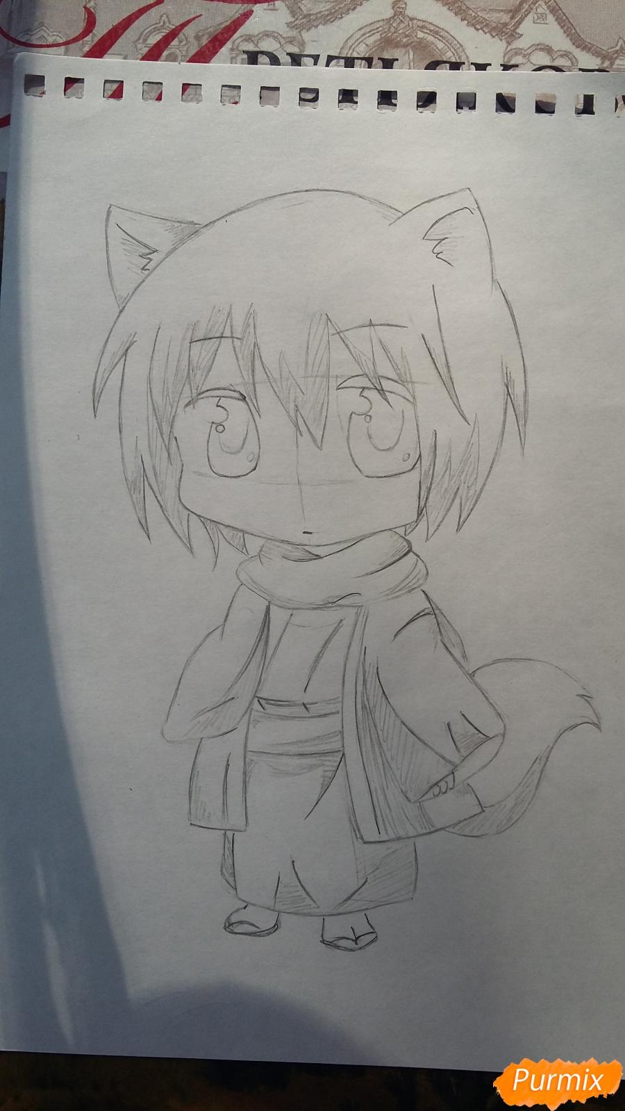 Рисуем Томоэ в стиле чиби карандашами - шаг 5