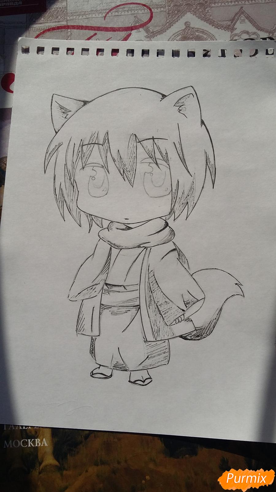 Рисуем Томоэ в стиле чиби карандашами - шаг 6